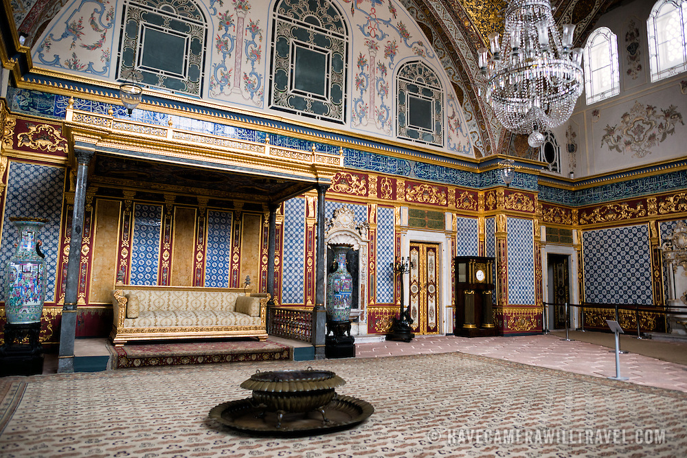 The ornately decorated Imperial Throne Room in the Harem of Topkapi Palace. The Imperial Harem was the inner sanctum of the Topkapi Palace where the Sultan and his family lived. Standing on a peninsular overlooking the Bosphorus Strait and Golden Horn, Topkapi Palace was the primary residence of the Ottoman sultans for approximately 400 years (1465–1856) of their 624-year reign.