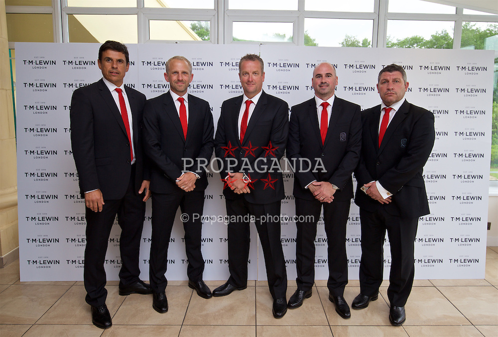 CARDIFF, WALES - Wednesday, June 1, 2016: Wales' manager Chris Coleman, coach Paul Trollope, goalkeeping coach Martyn Margetson, performance psychologist Ian Mitchall, assistant manager Osian Roberts wearing T.M. Lewin suits before a charity send-off gala dinner at the Vale Resort Hotel ahead of the UEFA Euro 2016. (Pic by David Rawcliffe/Propaganda)
