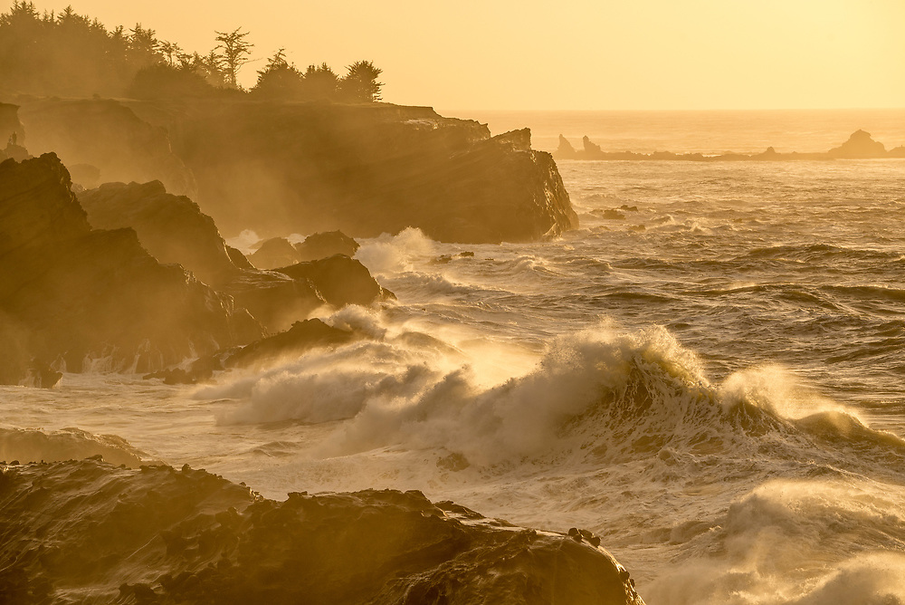 Waves crashing on the rocks at Shore Acres State Park, southern Oregon coast.
