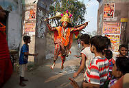 Man performs as Hanuman, one of Hindu gods, at Sri Durgiana Temple in Amritsar, Punjab, India on Oct 20, 2015, during Langur, Hindu festival to celebrate Hauman. <br /> (Photo by Kuni Takahashi)