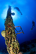 "Divers swim around the mast of the ""El Aguila"" wreck in Roatan, Honduras."