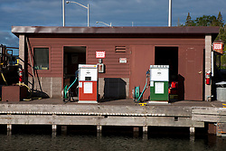 Unleaded gasoline and diesel fuel pumps, Rock Harbor, Isle Royale National Park, Michigan, United States of America