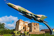 Fighter jet and bombed building at the Karlovac war memorial, Karlovac, Croatia