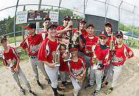The Belmont U12 Cal Ripken baseball team advances to the State Championship tournament to be played in Claremont after winning against Newfound Tuesday evening at Prescott Park in Meredith.  (Karen Bobotas/for the Laconia Daily Sun)
