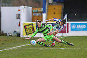 Forest Green Rovers Charlie Cooper(20) in first on a tackle during the FA Trophy 2nd round match between Chester FC and Forest Green Rovers at the Deva Stadium, Chester, United Kingdom on 14 January 2017. Photo by Shane Healey.