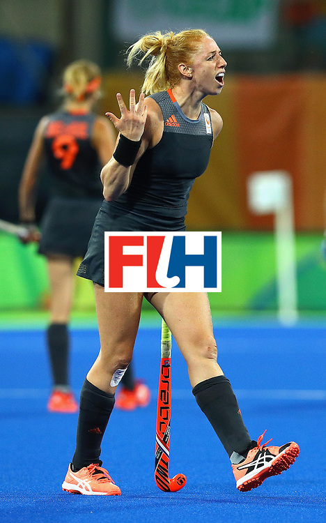 RIO DE JANEIRO, BRAZIL - AUGUST 19:  Margot van Geffen of Netherlands gestures  during the Women's Gold Medal Match against the Netherlands on Day 14 of the Rio 2016 Olympic Games at the Olympic Hockey Centre on August 19, 2016 in Rio de Janeiro, Brazil.  (Photo by Tom Pennington/Getty Images)