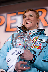 Slovenian athlete Petra Majdic celebrates with her home town when she arrived home with small cristal globus at the end of the nordic season 2008/2009, on March 24, 2009, in Dol pri Ljubljani, Slovenia. (Photo by Vid Ponikvar / Sportida)