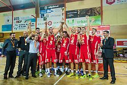 Team KK Tajfun Sentjur after winning supercup basketball match between KK Krka Novo mesto and KK Tajfun Sentjur at Superpokal 2015, on September 26, 2015 in SKofja Loka, Poden Sports hall, Slovenia. Photo by Grega Valancic / Sportida.com