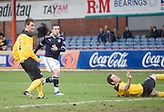 Dundee's Ryan Conroy watches his opener hit the net - Dundee v Livingston, IRN BRU Scottish Football League, First Division at Dens Park - ..© David Young - .5 Foundry Place - .Monifieth - .Angus - .DD5 4BB - .Tel: 07765 252616 - .email: davidyoungphoto@gmail.com.web: www.davidyoungphoto.co.uk