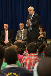 © licensed to London News Pictures. London, UK 14/06/2012. Boris Johnson talking to pupils at Cooper's Lane Primary School today with Margaret Mizen and Grace Idowu whose teenage son were murdered. Photo credit: Tolga Akmen/LNP