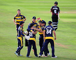 Glamorgan celebrate running out Jim Allenby.  - Mandatory by-line: Alex Davidson/JMP - 22/07/2016 - CRICKET - Th SSE Swalec Stadium - Cardiff, United Kingdom - Glamorgan v Somerset - NatWest T20 Blast