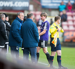 Ayr United&rsquo;s Jamie Adams off injured. <br /> Dunfermline 3 v 2 Ayr United, Scottish League One played at East End Park, 13/2/2016.