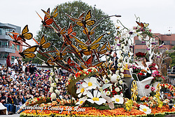 A float on the route of the 2017 Tournament of Roses Parade, Rose Parade, Pasadena, California, United States of America