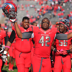 Oct 13, 2012: Rutgers Scarlet Knights linebacker Steve Beauharnais (42) celebrates Rutgers' victory in NCAA Big East college football between the Rutgers Scarlet Knights and Syracuse Orange at High Point Solutions Stadium in Piscataway, N.J.