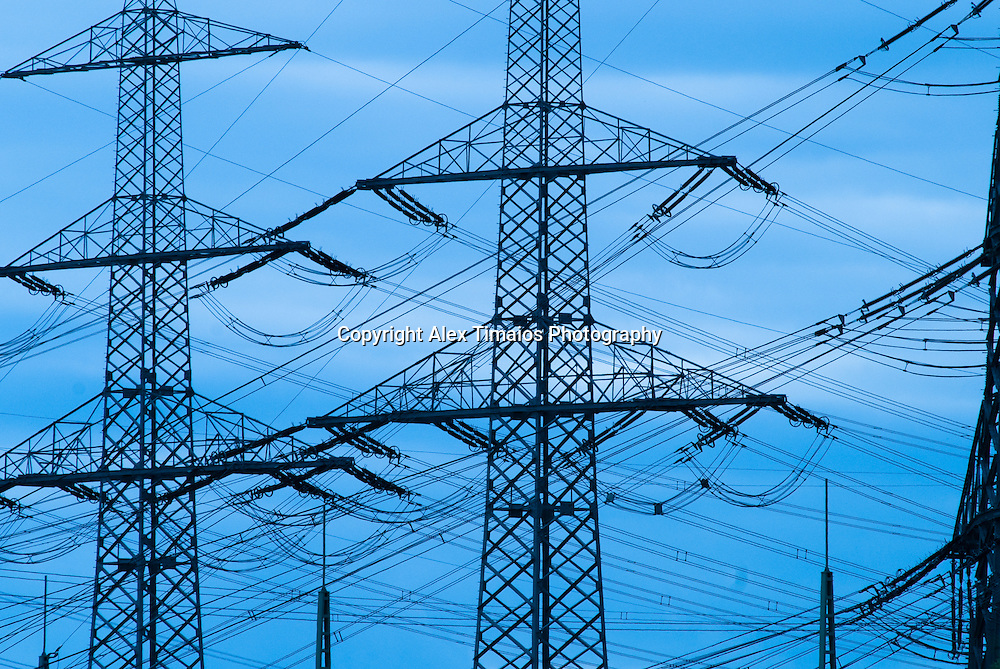 several high tension lines for electricity transport