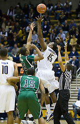 December 28, 2009; Berkeley, CA, USA;  California Golden Bears center Markhuri Sanders-Frison (45) wins the opening tip from Utah Valley Wolverines forward Justin Baker (45) during the first half at the Haas Pavilion.  California defeated Utah Valley 85-51.