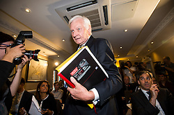 © Licensed to London News Pictures. 25/08/2015. London, UK. Ex-Tory MP Harvey Proctor arriving at a press conference in central London after he was interviewed by police for a second time yesterday about a VIP child abuse probe. Photo credit: Ben Cawthra/LNP