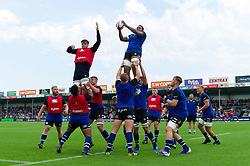 Bath Rugby forwards in action during the pre-match warm-up - Mandatory byline: Patrick Khachfe/JMP - 07966 386802 - 21/09/2019 - RUGBY UNION - Sandy Park - Exeter, England - Exeter Chiefs v Bath Rugby - Premiership Rugby Cup