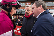 04/12/2016,  Bar One Racing at Fairyhouse<br /> Race 3: The Bar One Racing Hatton`s Grace Hurdle<br /> Gordon Elliott and Michael O`Leary in discussion with Bryan Cooper after Apple`s Jade won the Bar One Racing Hatton`s Grace Hurdle at Fairyhouse<br /> Photo: David Mullen /www.cyberimages.net / 2016<br /> ISO: 800; Shutter: 1/250; Aperture: 6.3<br /> File Size: 2.7MB<br /> Print Size: 8.6 x 5.8 inches