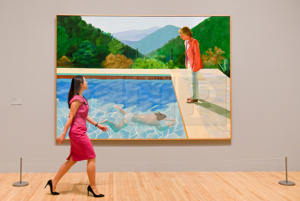"© Licensed to London News Pictures. 06/02/2017. London, UK. A staff member walks by ""Portrait of an Artist (Pool with Two Figures)"" at the preview of the world's most extensive retrospective of the work of David Hockney at the Tate Britain, which will be on display 9 February to 29 May 2017. Photo credit : Stephen Chung/LNP"