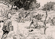 Second Boer War, also called the South African War and the Anglo-Boer War.  On the way to relieve Mafeking on 17 May 1900. Royal Artillery gunners firing 'pom-poms' against the Boers during the action near Maritsani, 13 May. From 'The Illustrated London News' (London, 7 July 1900).