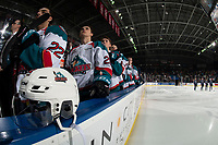 KELOWNA, CANADA - JANUARY 25:  \The Kelowna Rockets stand on the bench for the national anthem against the Victoria Royals on January 25, 2019 at Prospera Place in Kelowna, British Columbia, Canada.  (Photo by Marissa Baecker/Shoot the Breeze)