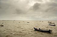 Traditional Tagus river fishing boat anchored at Alcochete