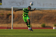 Forest Green Rovers Dale Bennett(2) heads the ball clear during the Pre-Season Friendly match between SC Farense and Forest Green Rovers at Estadio Municipal de Albufeira, Albufeira, Portugal on 25 July 2017. Photo by Shane Healey.