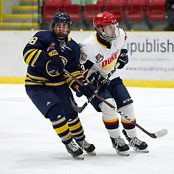 WELLINGTON, ON - JANUARY 13: Jacob Thousand #23 of the Wellington Dukes and Matthew Novo #98 of the Buffalo Jr. Sabres pursues the play in the second period on January 13, 2019 at Wellington and District Community Centre in Wellington, Ontario, Canada.<br /> (Photo by Ed McPherson / OJHL Images)