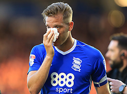 Michael Morrison of Birmingham City leaves the pitch after cutting his cheek - Mandatory by-line: Paul Roberts/JMP - 15/08/2017 - FOOTBALL - St Andrew's Stadium - Birmingham, England - Birmingham City v Bolton Wanderers - Sky Bet Championship