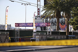 LAS VEGAS, Oct. 4, 2017  Crime scene tape is seen at the shooting scene in Las Vegas, the United States, Oct. 3, 2017. At least 59 people were killed and 527 others wounded after a gunman opened fire Sunday on a concert in Las Vegas in the U.S. state of Nevada, the deadliest mass shooting in modern U.S. history.  zjy) (Credit Image: © Wang Ying/Xinhua via ZUMA Wire)