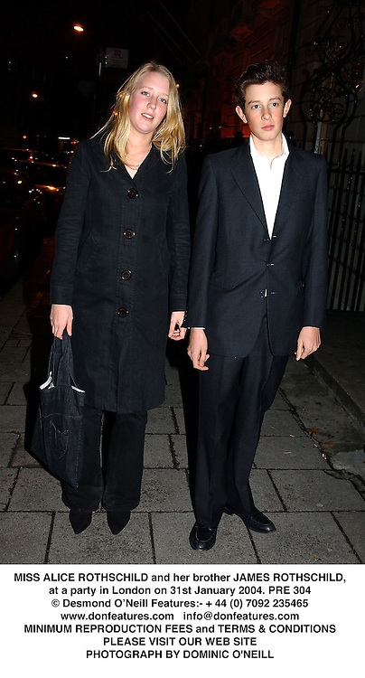 MISS ALICE ROTHSCHILD and her brother JAMES ROTHSCHILD, at a party in London on 31st January 2004.PRE 304
