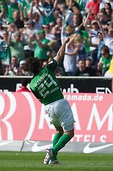07.05.2011, Weserstadion, Bremen, GER, 1.FBL, Werder Bremen vs Borussia Dortmund, im Bild  2:0 Jubel Claudio Pizarro ( Werder #24 )   EXPA Pictures © 2011, PhotoCredit: EXPA/ nph/  Kokenge       ****** out of GER / SWE / CRO  / BEL ******