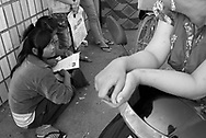 CAMBODIA. Chom Chao (Phnom Penh). 13/01/2011: Jobless trying to apply for a job interview at Hoy Chien garment factory.