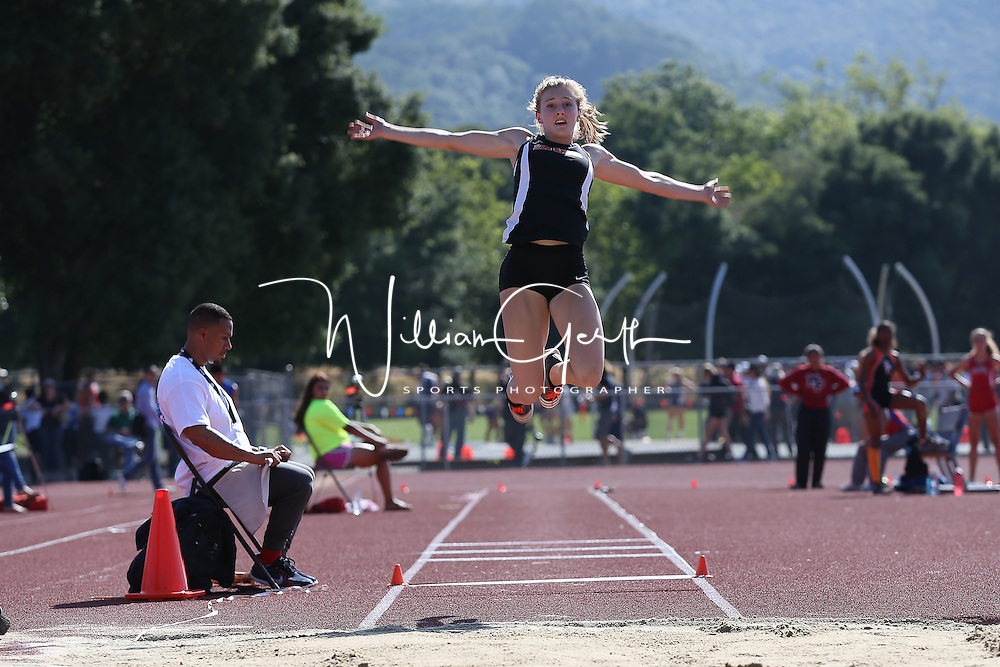 (Photograph by Bill Gerth for SVCN/5/27/16) Los Gatos Caice Lanovaz in the long jump during (1st place, 19-02.50) the CCS Track and Field Championships at Gilroy High School, Gilroy CA on 5/27/16.