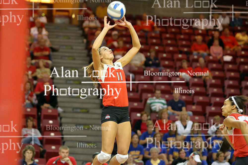 11 September 2007:  Ashley Hughes sets up the ball for the Buckeyes Striker. Ohio State Buckeyes bested the Illinois State Redbirds 3 games to 1 at Redbird Arena on the campus of Illinois State University in Normal Illinois.