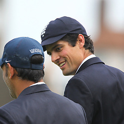 India's Captain Mahendra Singh Dhoni  and England's Captain Alastair Cook walk for the toss during the first day of the Investec 5th Test match between England and India at the Kia Oval, London, 15th August 2014 © Phil Duncan | SportPix.org.uk