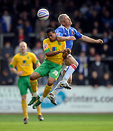 Carlisle - Saturday October 10th, 2008: Graham Kavanagh (R) of Carlisle United and Korey Smith of Norwich City during the Coca Cola League One match at Brunton Park, Carlisle. (Pic by Jed Wee/Focus Images)..