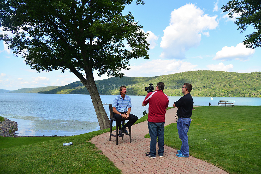 COOPERSTOWN, NY July 24: D-backs Randy Johnson films with Jeff Cederbaum and Rob Weinheimer at The Otesaga Resort Hotel in Cooperstown, NY. (Photo by Jennifer Stewart/Arizona Diamondbacks)