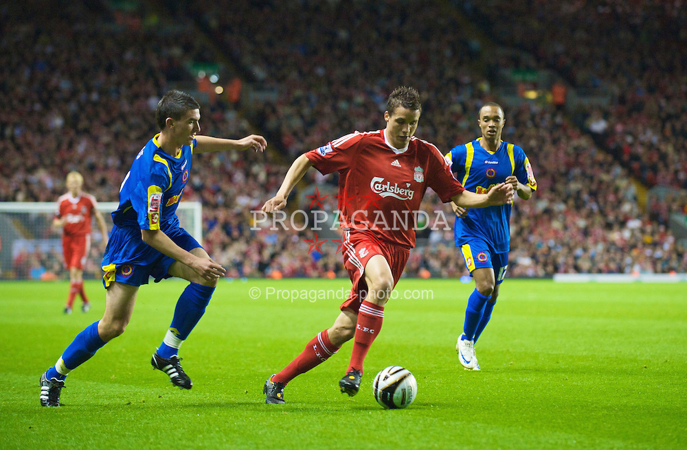 LIVERPOOL, ENGLAND - Tuesday, September 23, 2008: Liverpool's Philipp Degen in action against Crewe Alexandra during the League Cup 3rd round match at Anfield. (Photo by David Rawcliffe/Propaganda)