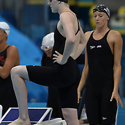 Missy Franklin, USA, (on blocks) and Dana Vollmer, (right) before the start of the Women's 4 x 200m Freestyle Relay Final won by the USA at the Aquatic Centre at Olympic Park, Stratford during the London 2012 Olympic games. London, UK. 1st August 2012. Photo Tim Clayton