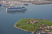 Aerial Photo of Carnival Cruise Ship sailing past Fort McHenry enroute to Marylanf Cruise Terminal