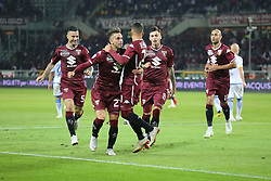 October 5, 2018 - Turin, Piedmont, Italy - Alejandro Berenguer (Torino FC) celebrates with temmates after scoring the goal of victory for Torino FC during the Serie A football match between Torino FC and Frosinone Calcio at Olympic Grande Torino Stadium on October 05, 2018 in Turin, Italy..Torino won 3-2 over Frosinone. (Credit Image: © Massimiliano Ferraro/NurPhoto/ZUMA Press)