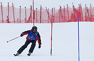 Polish athlete Dawid Kujawowicz with intelectual disability competes while Alpine Intermediate Slalom during 2013 Special Olympics World Winter Games PyeongChang at Yongpyong Resort on February 5, 2013...South Korea, PyeongChang, February 5, 2013..Picture also available in RAW (NEF) or TIFF format on special request...For editorial use only. Any commercial or promotional use requires permission...Photo by © Adam Nurkiewicz / Mediasport