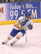 LSSU's John Scrymgeour celebrates after scoring a shorthanded goal against NMU Saturday at Taffy Abel Arena in Sault Ste. Marie.