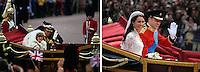 This photo composition compares the bride and groom leaving in an open carriage following wedding ceremony of Prince Charles, Prince of Wales and Diana, Princess of Wales on July 29 1981 with that of Prince William, Duke of Cambridge and Catherine, Duchess of Cambridge on April 29, 201.1.