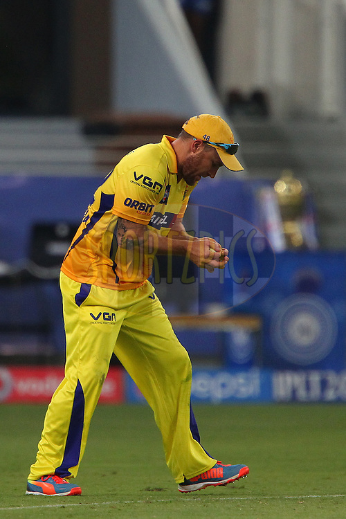 Brendon McCullum of The Chennai Superkings takes the catch to dismiss Harbhajan Singh of the Mumbai Indians during match 13 of the Pepsi Indian Premier League Season 7 between the Chennai Superkings and the Mumbai indians held at the Dubai International Stadium, Dubai, United Arab Emirates on the 25th April 2014<br /> <br /> Photo by Ron Gaunt / IPL / SPORTZPICS