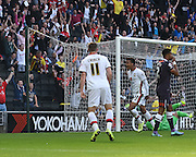 Milton Keynes Dons midfielder Josh Murphy scores to make it 1-1 and celebrates during the Sky Bet Championship match between Milton Keynes Dons and Derby County at stadium:mk, Milton Keynes, England on 26 September 2015. Photo by David Charbit.