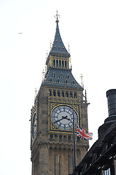 Parliament flies flag at half mast following Margaret Thatcher's Death, London, UK, Monday 8 April, 2013. Photo By Andrew Parsons / i-lmages.