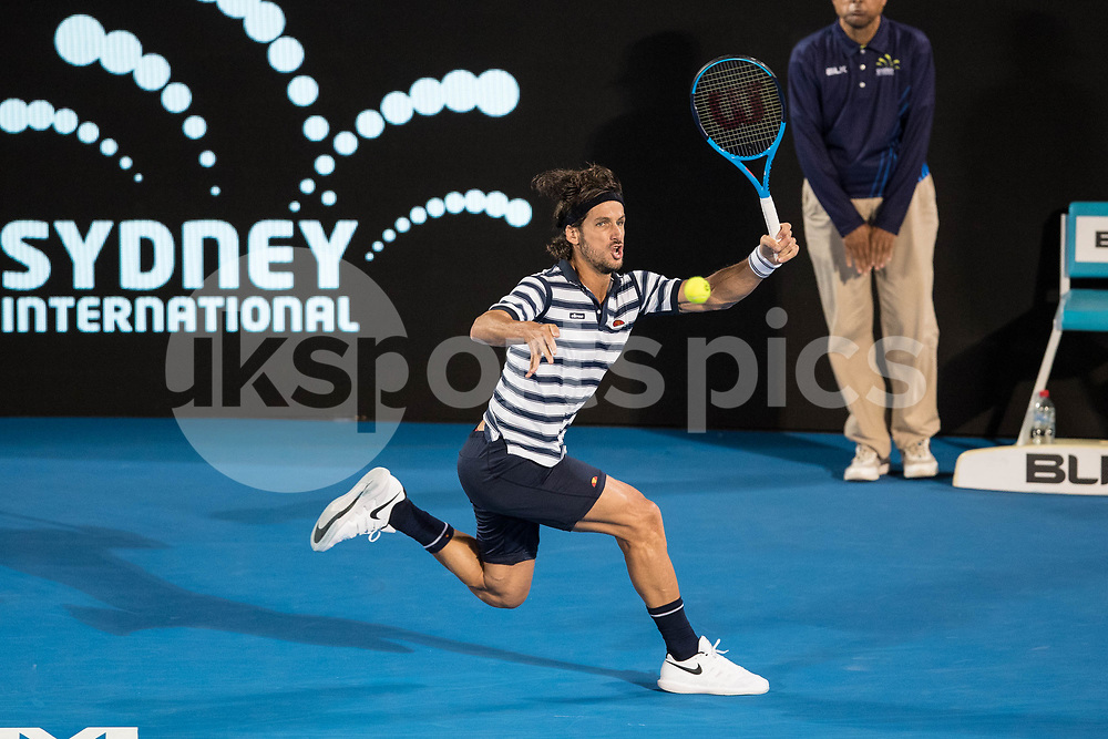 Feliciano Lopez of Spain losing the quarter final to Alex De Minaur of Australia 6-4 6-4 during the Sydney International 2018 at Sydney Olympic Park Tennis Centre, Sydney, Australia on 11 January 2018. Photo by Peter Dovgan.
